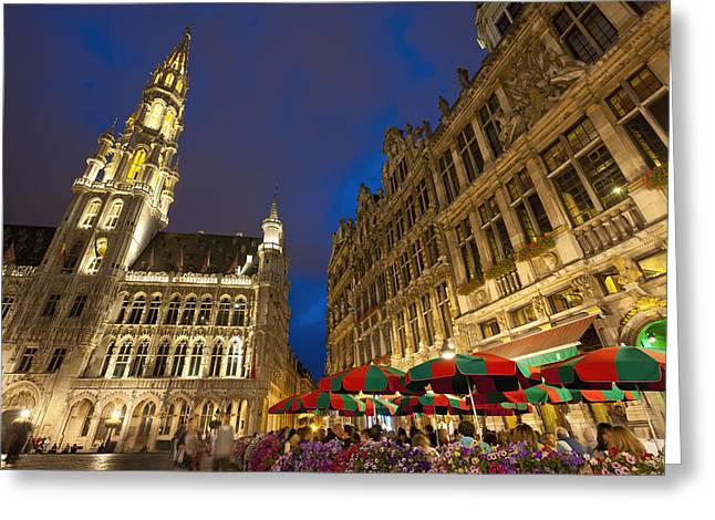 Night Cafe Greeting Cards - Brussels, Belgium Greeting Card by Axiom Photographic