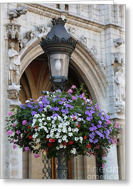 Hanging Baskets Greeting Cards - Brussels Lamp Post Greeting Card by Carol Groenen