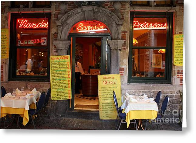 Table And Chairs Greeting Cards - Brussels - Restaurant Savarin Greeting Card by Carol Groenen