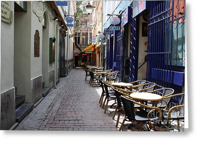 Table And Chairs Greeting Cards - Brussels Side Street Cafe Greeting Card by Carol Groenen