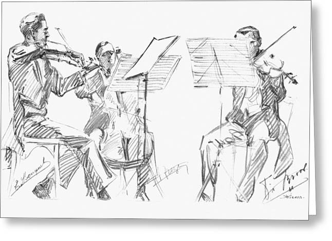 Music Stand Greeting Cards - Brussels String Trio Greeting Card by Granger