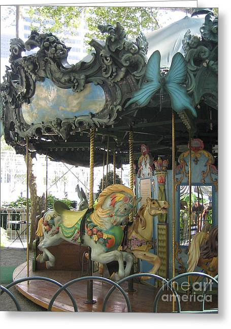 Bryant Park Greeting Cards - Bryant Park Carousel Greeting Card by Blanche Knake