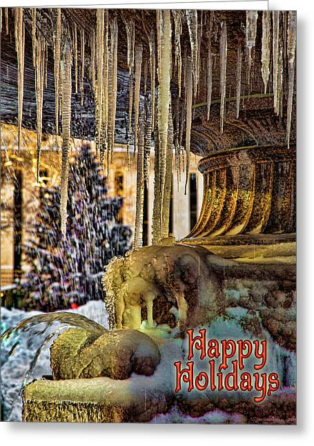 Bryant Park Greeting Cards - Bryant Park Fountain Holiday Greeting Card by Chris Lord