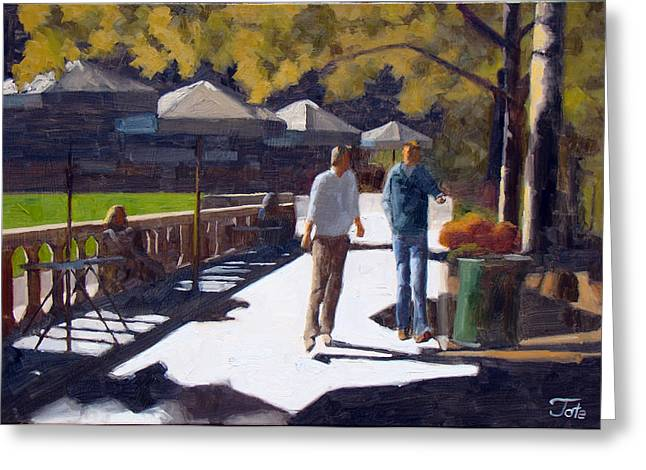 Bryant Paintings Greeting Cards - Bryant Park strollers Greeting Card by Tate Hamilton