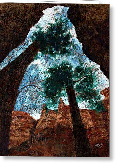Bark Paper Prints Greeting Cards - Bryce Canyon through the crack Greeting Card by Stephen Boyle