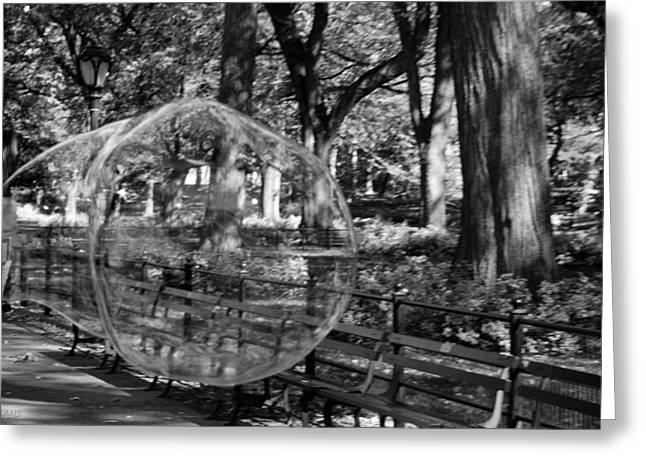 Natral Greeting Cards - BUBBLE in CENTRAL PARK in BLACK AND WHITE Greeting Card by Rob Hans