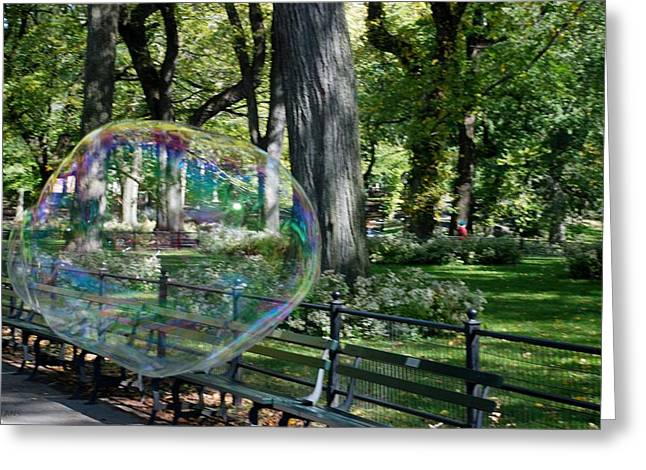 Natral Greeting Cards - BUBBLE in the PARK Greeting Card by Rob Hans