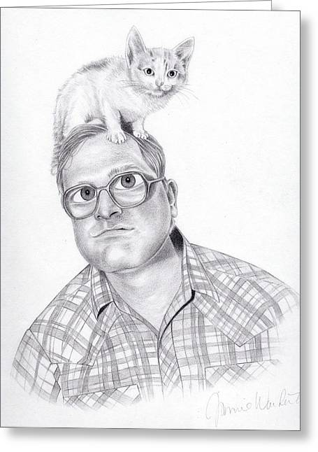 Kitten Drawings Greeting Cards - Bubbles Greeting Card by Jamie Warkentin