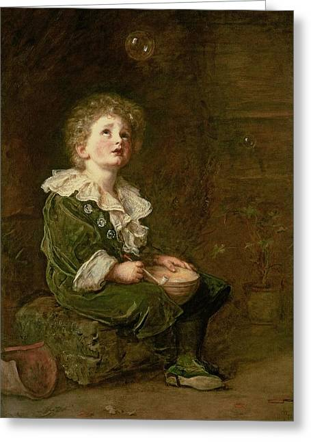 Kid Paintings Greeting Cards - Bubbles Greeting Card by Sir John Everett Millais