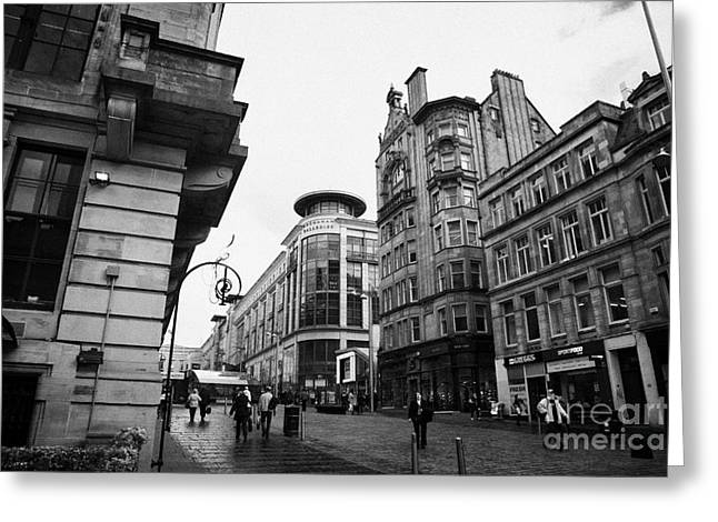 buchanan street shopping area on a cold wet day in glasgow scotland uk Greeting Card by Joe Fox