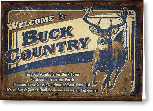 Antiques Sign Greeting Cards - Buck Country Sign Greeting Card by JQ Licensing
