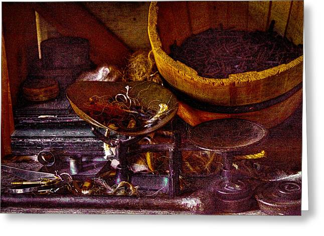 Hardware Shop Greeting Cards - Bucket of Nails and Stuff Greeting Card by David Patterson
