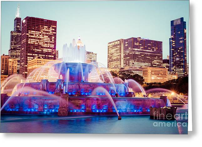 Spraying Greeting Cards - Buckingham Fountain and Chicago Skyline at Night Greeting Card by Paul Velgos