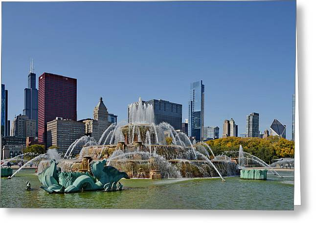 Grant Park Greeting Cards - Buckingham Fountain Chicago Greeting Card by Christine Till