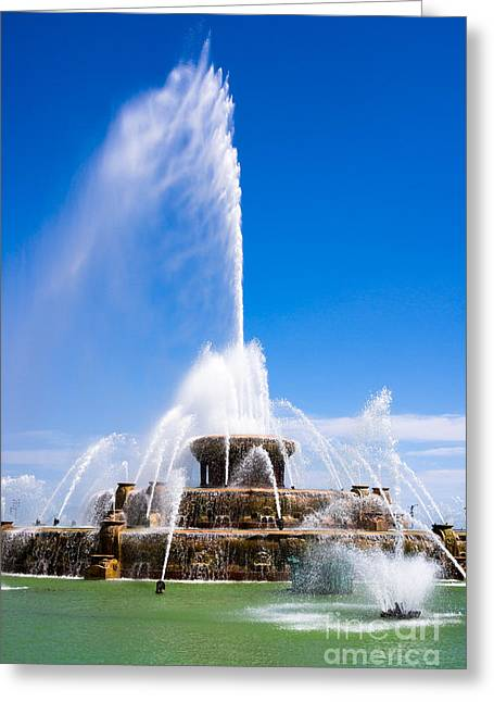 Spraying Greeting Cards - Buckingham Fountain in Chicago Greeting Card by Paul Velgos