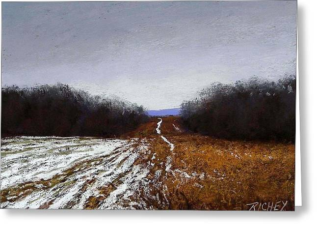 Winter Park Pastels Greeting Cards - Bucks County Snow Tracks Greeting Card by Bob Richey