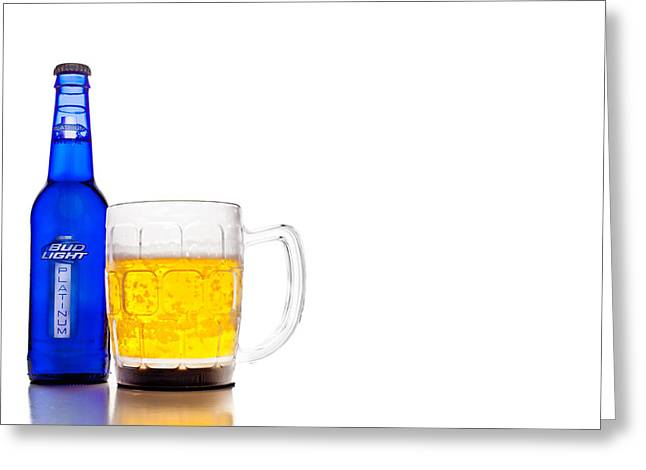 Food And Beverage Greeting Cards - Bud Light Platinum Greeting Card by Keith Allen