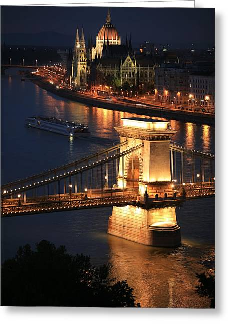 Hungarian Greeting Cards - Budapest at dusk Greeting Card by Joe Burns