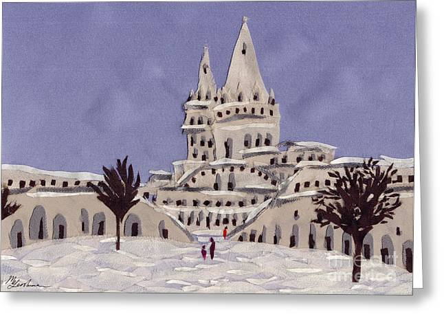 Winter-landscape Tapestries - Textiles Greeting Cards - Budapest Fisher Bastion Greeting Card by Marina Gershman