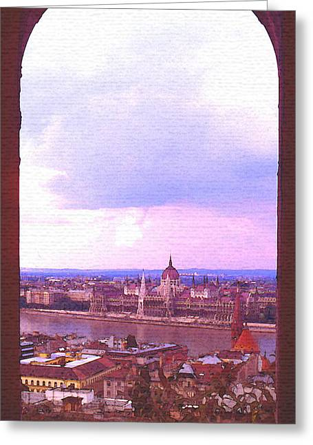 Steve Huang Greeting Cards - Budapest Framed Greeting Card by Steve Huang