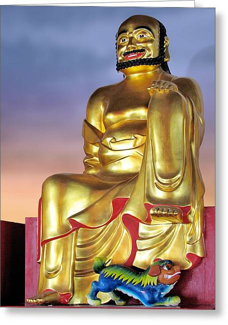 Sitting Greeting Cards - Buddha Greeting Card by Christine Till
