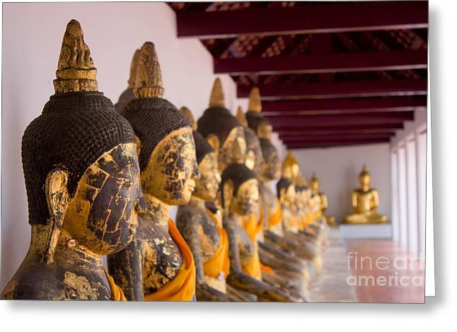 Temple Reliefs Greeting Cards - Buddha Culptures Greeting Card by Asaha Ruangpanupan