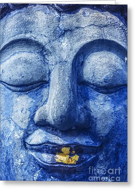 Ancient Indian Art Greeting Cards - Buddha face Greeting Card by Anek Suwannaphoom