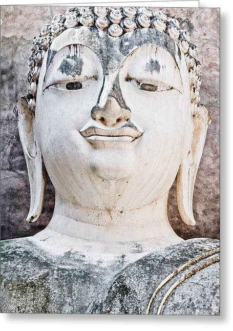 Style Sculptures Greeting Cards - Buddha face close up Greeting Card by Chatuporn Sornlampoo