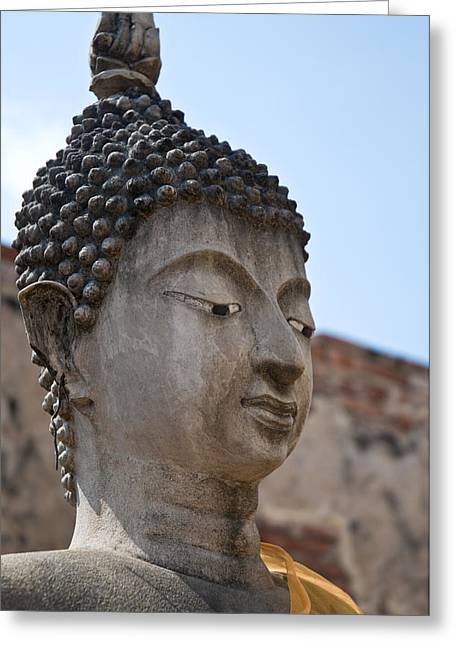 Brown Head Sculpture Greeting Cards - Buddha head Wat Wattanaram Ayutthaya Thailand Greeting Card by Ulrich Schade