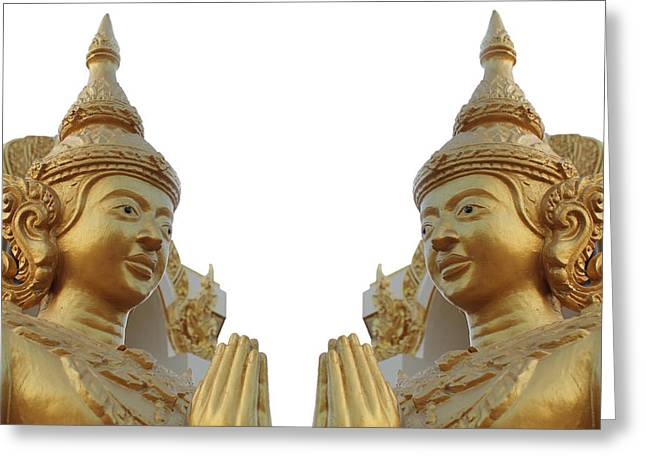 Engraving Sculptures Greeting Cards - Buddha image  Greeting Card by Panyanon Hankhampa