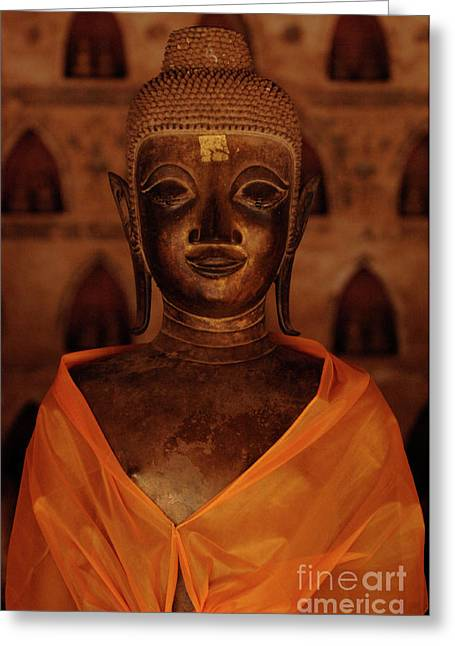 Orange Greeting Cards - Buddha In Orange Greeting Card by Bob Christopher