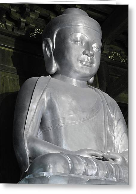 Till Life Greeting Cards - Buddha in solid silver - Jinan Temple Shanghai Greeting Card by Christine Till