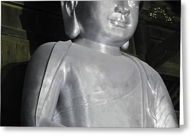 Buddha in solid silver - Jin'an Temple Shanghai Greeting Card by Christine Till