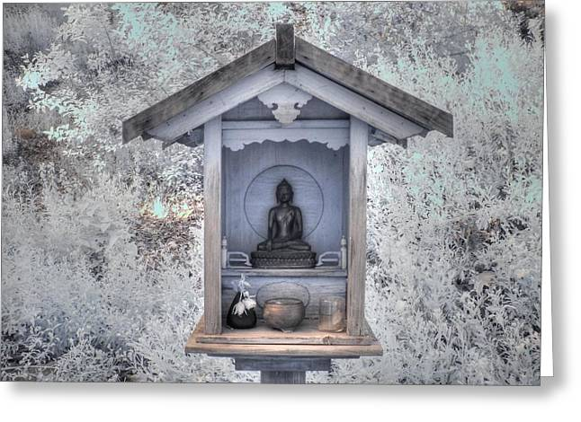 Infared Photography Greeting Cards - Buddha Shrine Greeting Card by Jane Linders