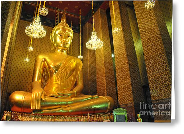 Calm Sculptures Greeting Cards - Buddha statue Greeting Card by Somchai Suppalertporn