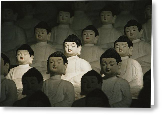 Light And Dark Greeting Cards - Buddha Statues In The Cave Temple Greeting Card by Martin Gray