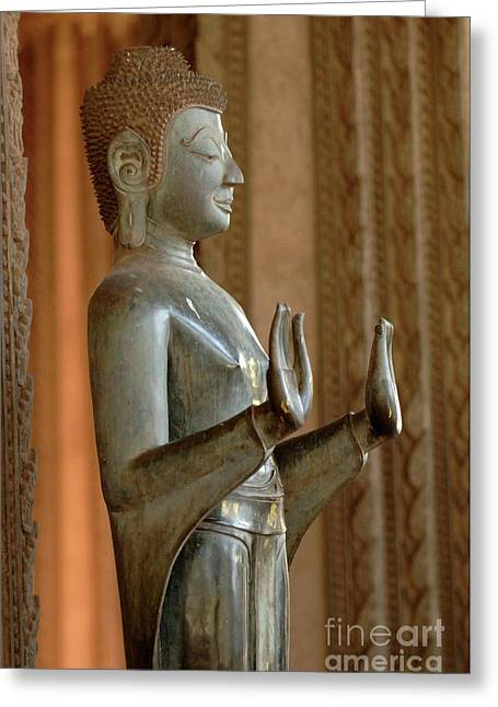 Laos Greeting Cards - Buddha Vientienne Laos Greeting Card by Bob Christopher