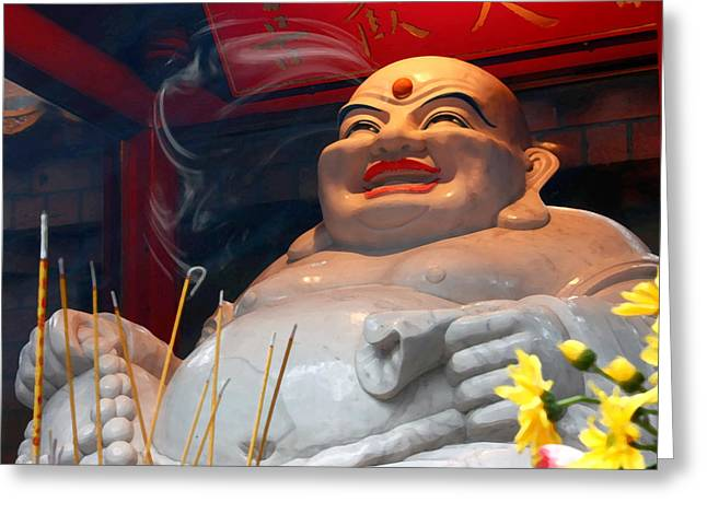 Overweight Greeting Cards - Buddhas Smile Greeting Card by Barbara  White