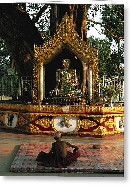 Gilding Greeting Cards - Buddhist Monk Meditating Near Altar Greeting Card by Steve Winter