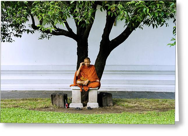 Cellphone Photographs Greeting Cards - Buddhist monk sits under tree Greeting Card by Ray Laskowitz - Printscapes
