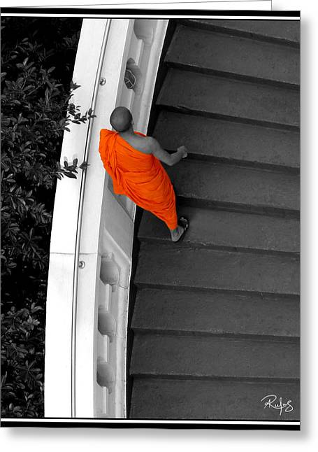 Self Discovery Photographs Greeting Cards - Buddhist Monks climb up the Golden Mountain Greeting Card by Allan Rufus