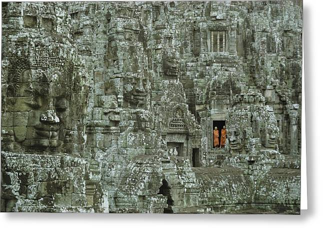 Indochinese Architecture And Art Greeting Cards - Buddhist Monks In A Doorway Greeting Card by W.E. Garrett