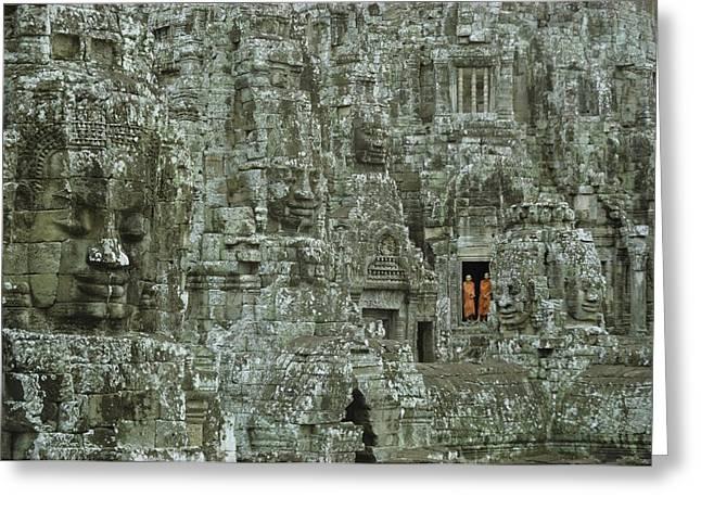 Buddhist Monks In A Doorway Greeting Card by W.E. Garrett