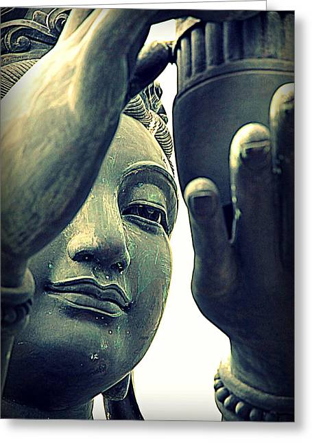 Religious Images Greeting Cards - Buddhist Statue Greeting Card by Valentino Visentini