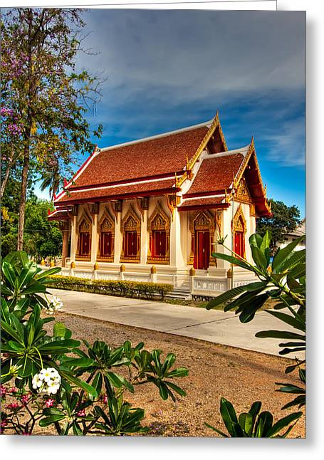 Hua Hin Greeting Cards - Buddhist Temple Greeting Card by Adrian Evans