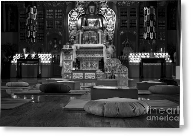 Olia Saunders Greeting Cards - Buddhist Temple Woodstock Greeting Card by Design Remix