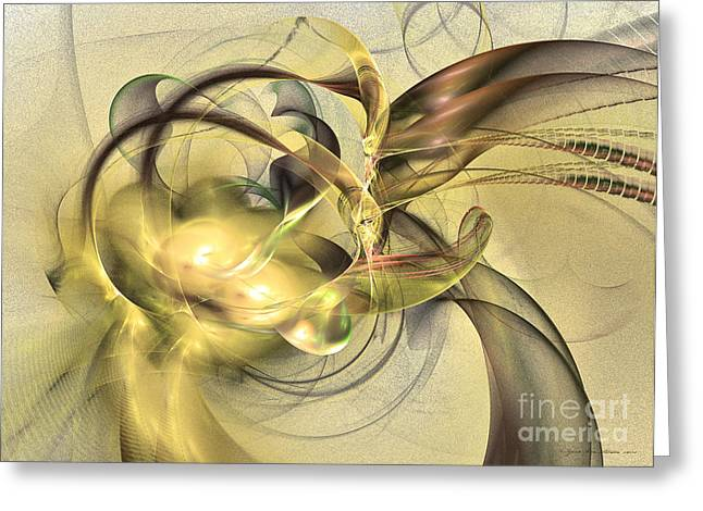 Interior Still Life Mixed Media Greeting Cards - Budding fruit - abstract art Greeting Card by Abstract art prints by Sipo
