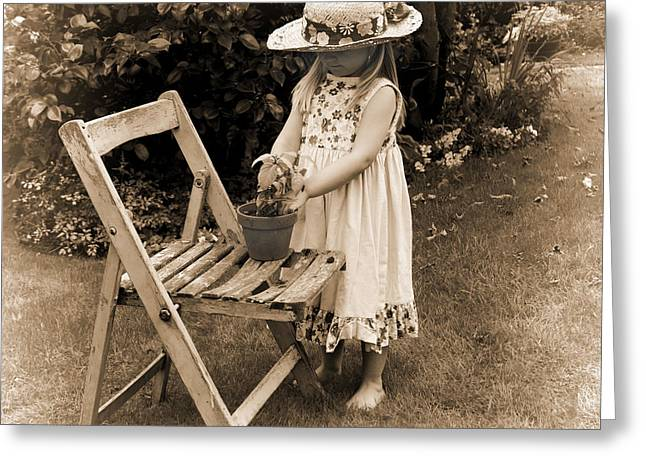 Fuchsia Dress Greeting Cards - Budding Gardener Greeting Card by Martin  Fry