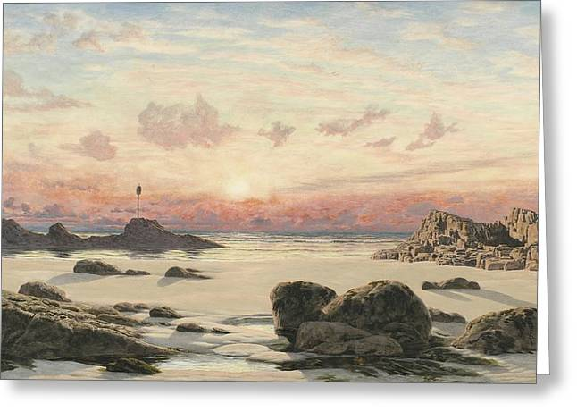 Seascape Canvas Greeting Cards - Bude Sands at Sunset Greeting Card by John Brett