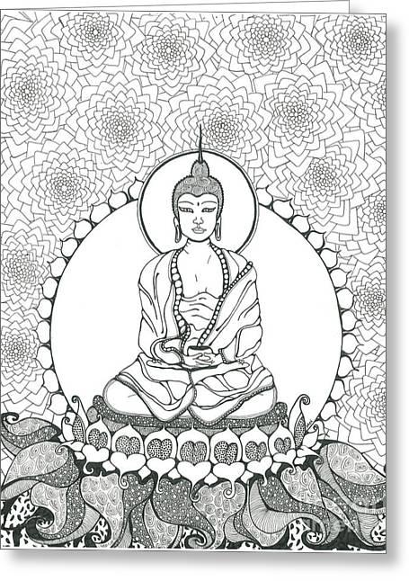 Mystic Art Greeting Cards - Budha  Greeting Card by Moira Gil
